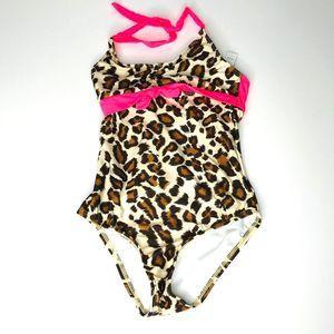 Aqua Girls Leopard Print One Piece Swimsuit